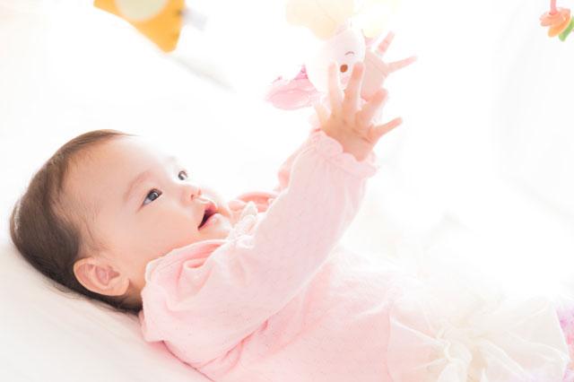 ぬいぐるみで遊ぶ赤ちゃんの写真
